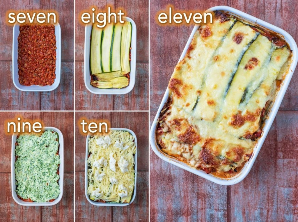 The second five step by step process of how to make Low Carb Lasagna