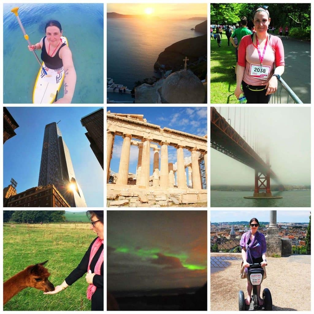 A collage of things to do from a before 40 bucket list