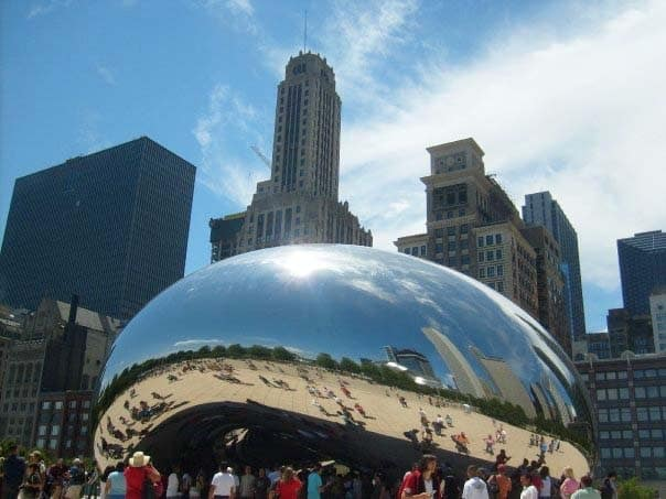 People stood looking at the Chicago Bean