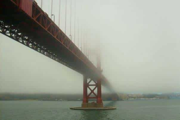 The Golden Gate Bridge in the fog