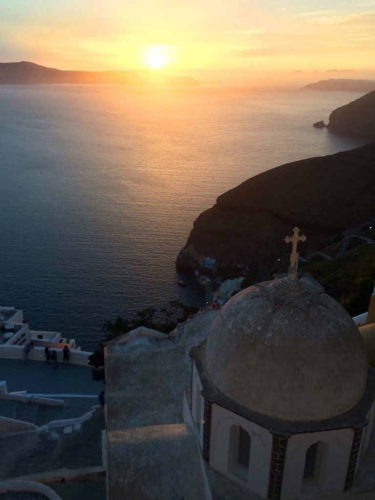 A sunset over the Aegean Sea viewed from Santorini