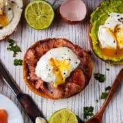 Poached eggs on various topped bagels