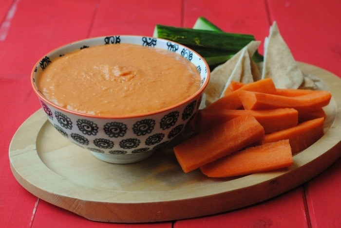 Easy Roasted Red Pepper Hummus - Hungry Healthy Happy