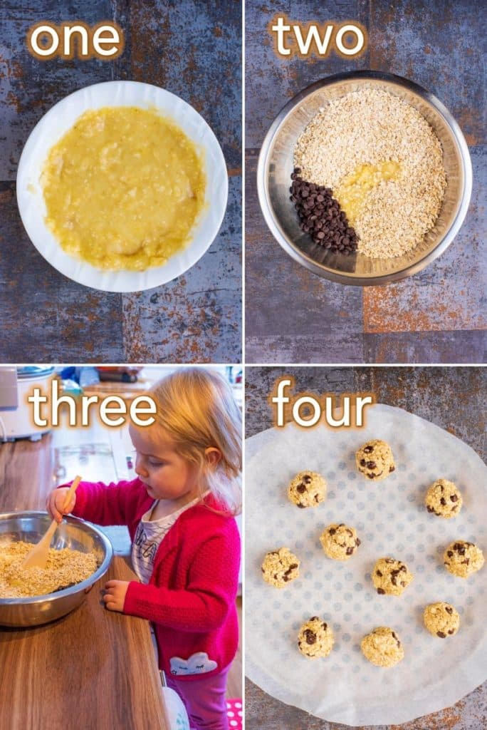 Step by step process of how to make 2 Ingredient Cookies