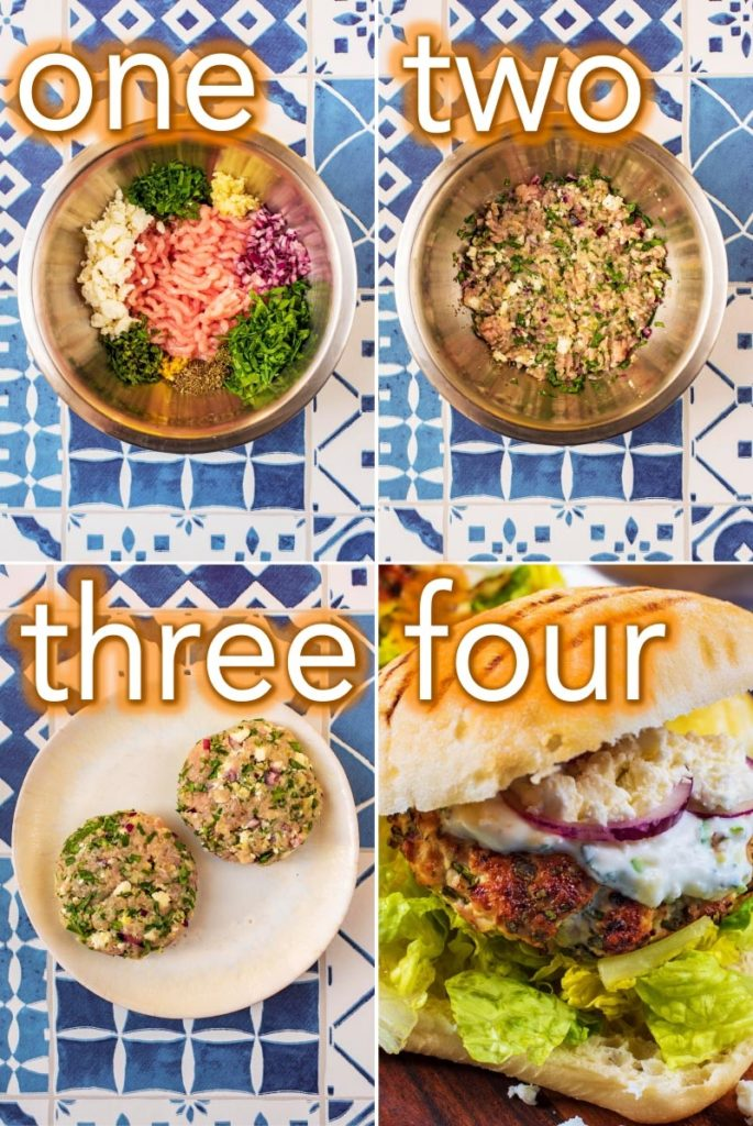 Step by step process of how to make Greek Turkey Burgers