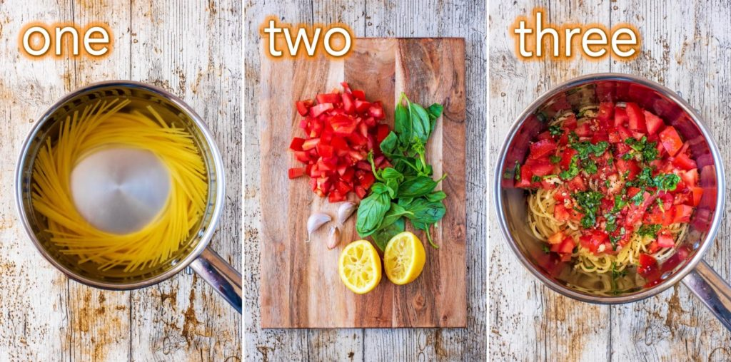 Step by step process of how to make Tomato Basil Pasta