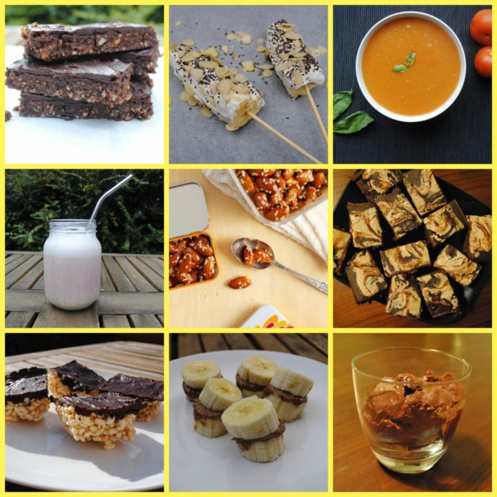 Nine picture collage of some healthy snacks