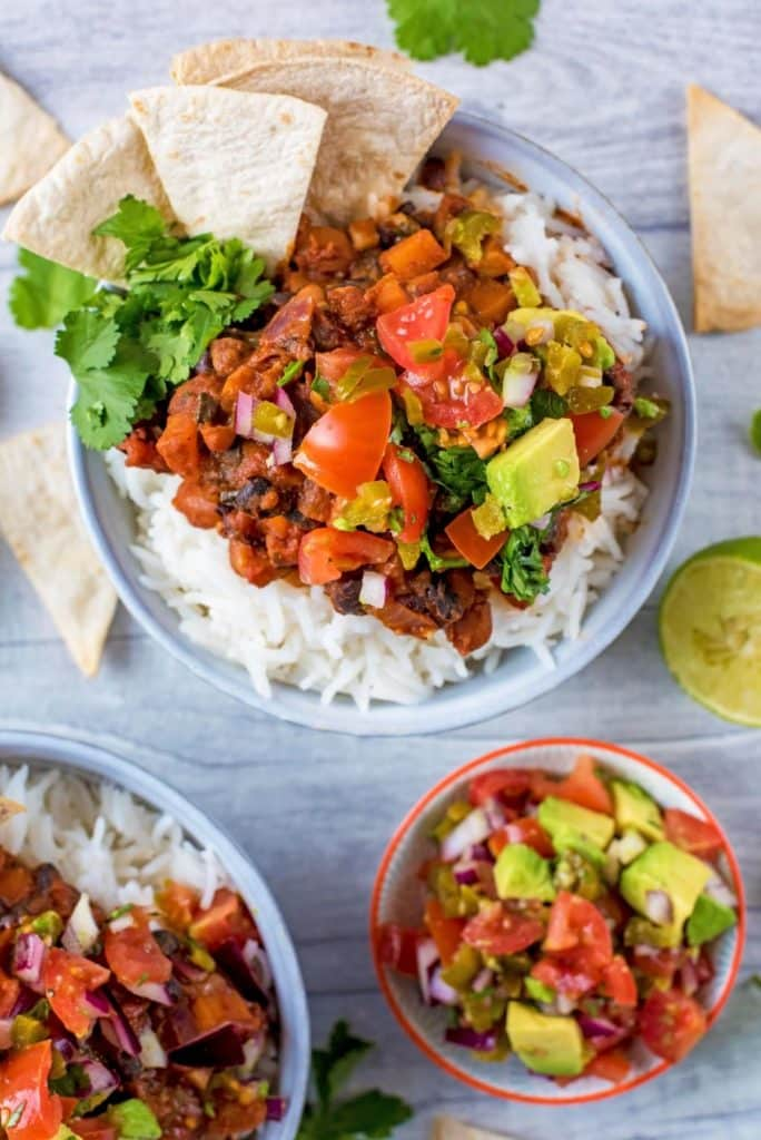 Bean Chilli with avocado salsa