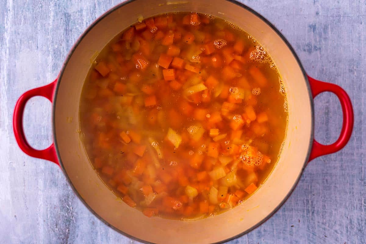Carrots, onions, lentils and spices cooking in water in a large pot