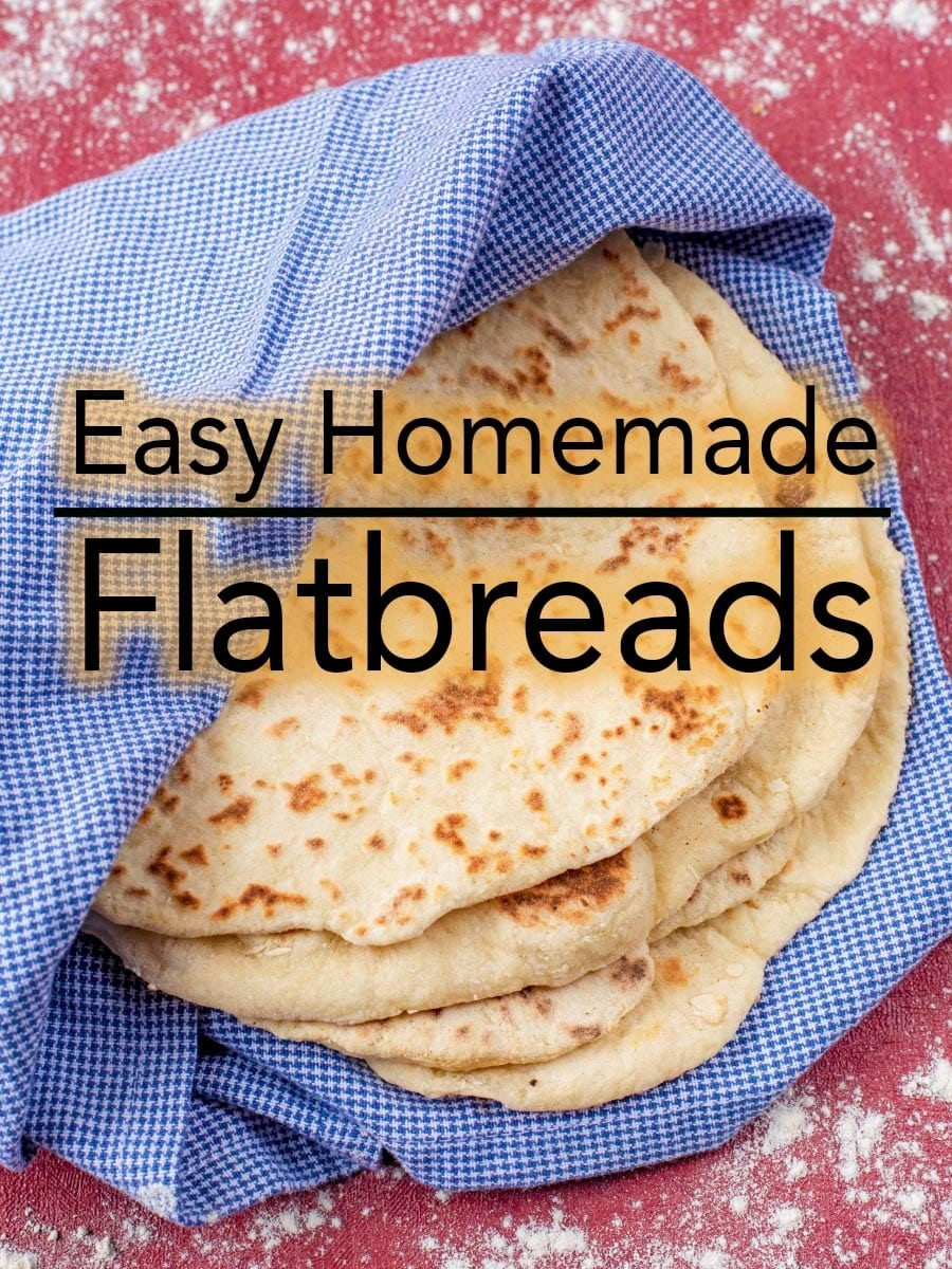 These soft, slightly charred and yeast free Easy Homemade Flatbreads couldn't be simpler. These are quick flatbreads to make for any occasion. #flatbread #quickbread #easybread #homemade