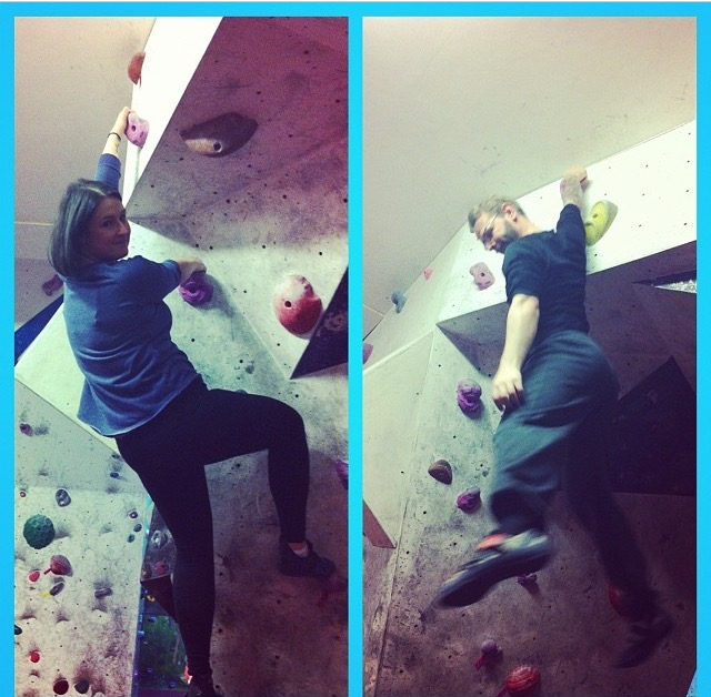 Two people on indoor climbing walls