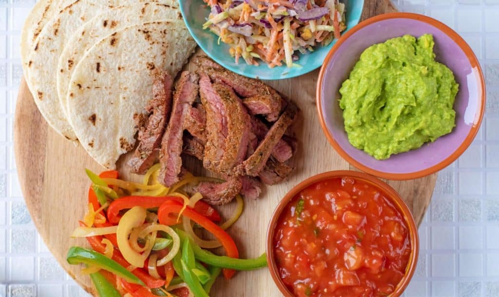 Landscape shot of deconstructed Cajun Steak Tacos