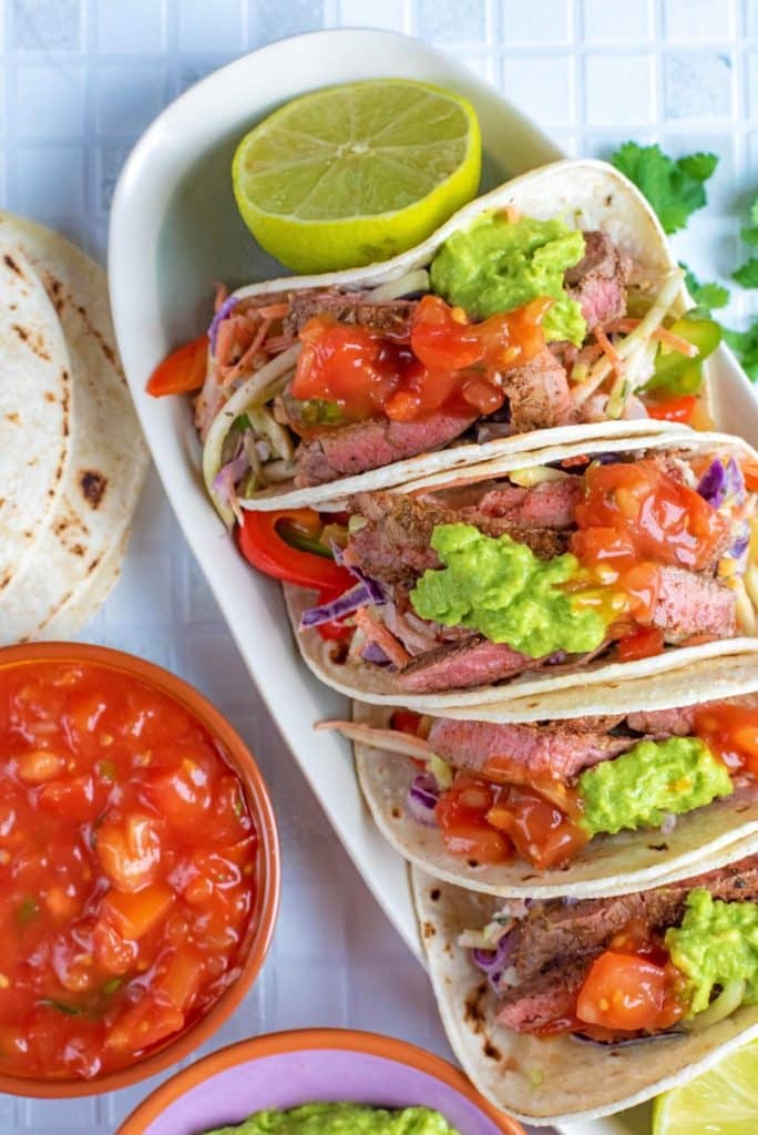Close up top down shot of Cajun Steak Tacos