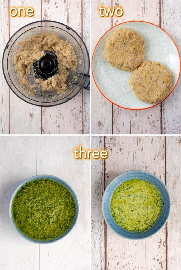 Four steps to making Chicken Pesto Burgers