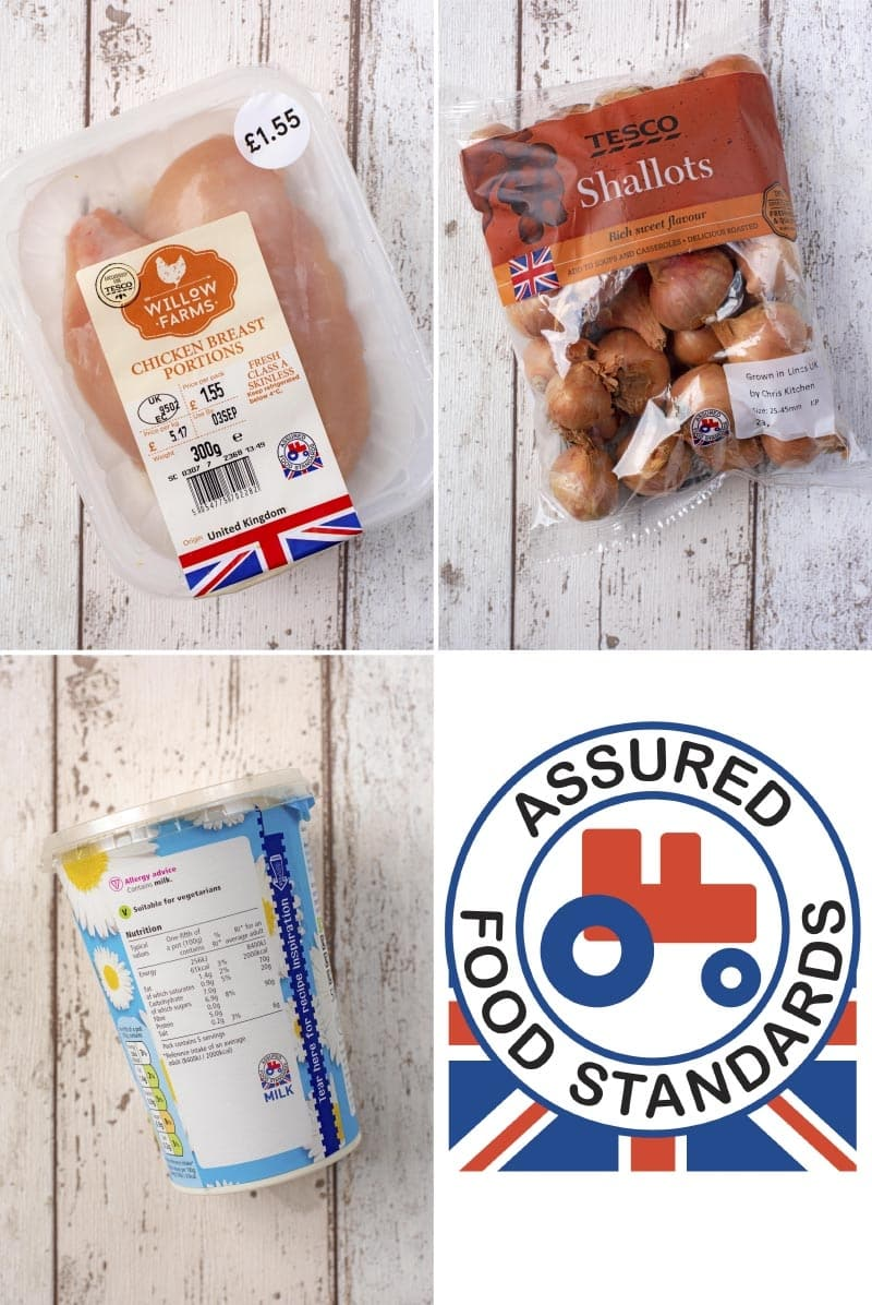 Chicken breasts, shallots and yogurt with the Red Tractor logo