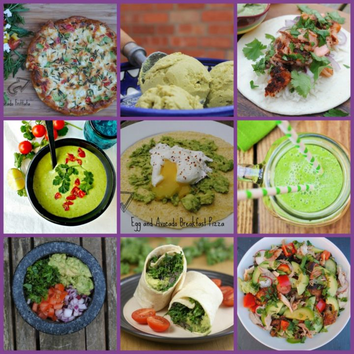Nine photo collage of different ways to eat avocado