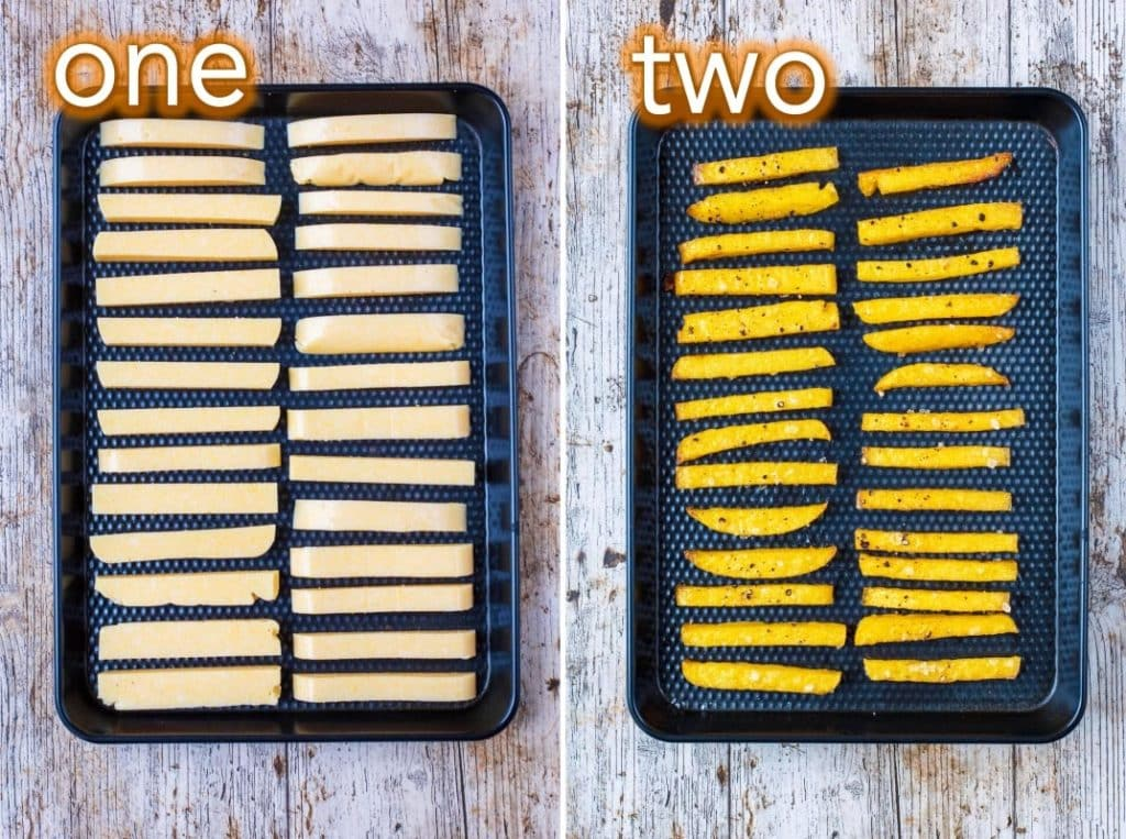 Step by step process of how to make Baked Polenta Fries