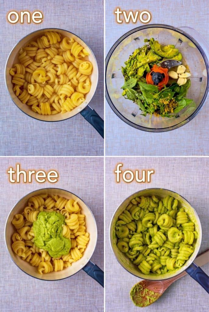 Step by step process of how to make Creamy Avocado Pasta