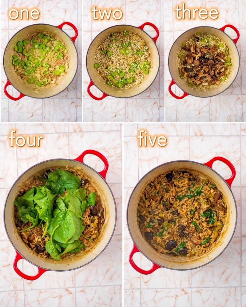 Step by step process of how to make Mushroom and Spinach Risotto