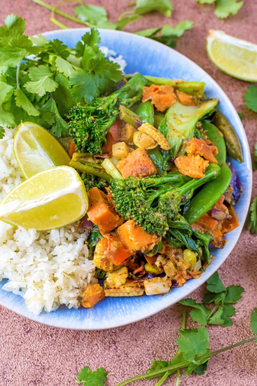 Broccoli, corn, sweet potato, pak choi and beans in a green curry sauce