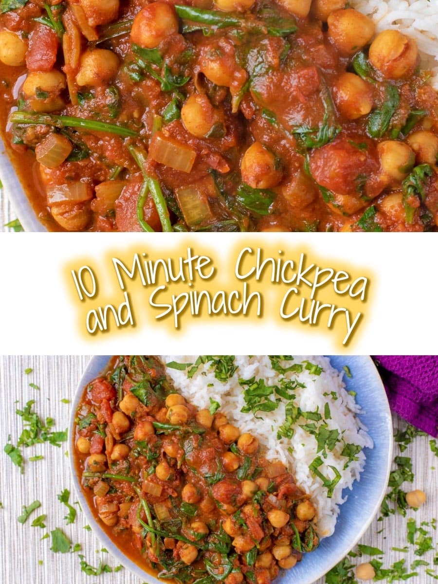 Chickpea and spinach curry with a title