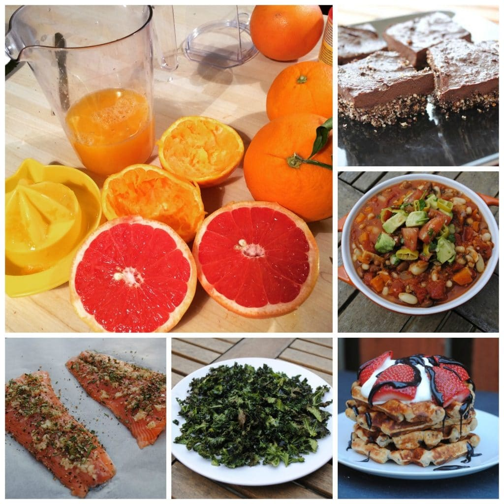 Six photo collage of oranges and grapefruits, chocolate brownies, soup, salmon fillets, kale and waffles