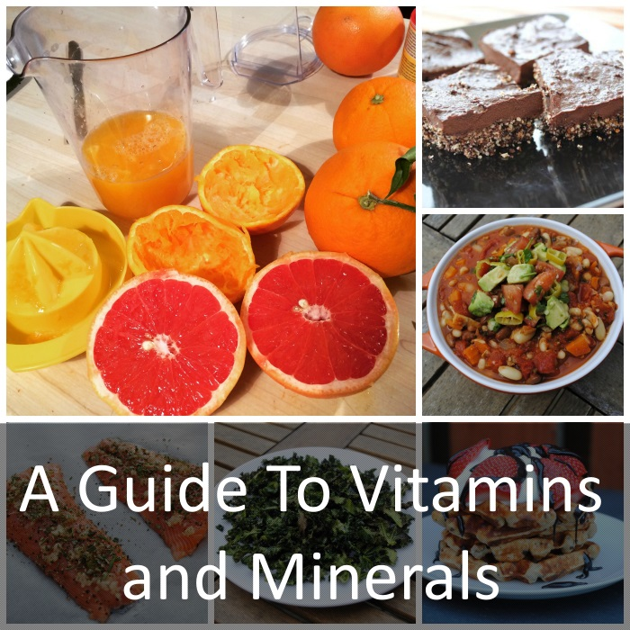 "Six photo collage of oranges and grapefruits, chocolate brownies, soup, salmon fillets, kale and waffles with text overlay saying ""a guide to vitamins and minerals"""