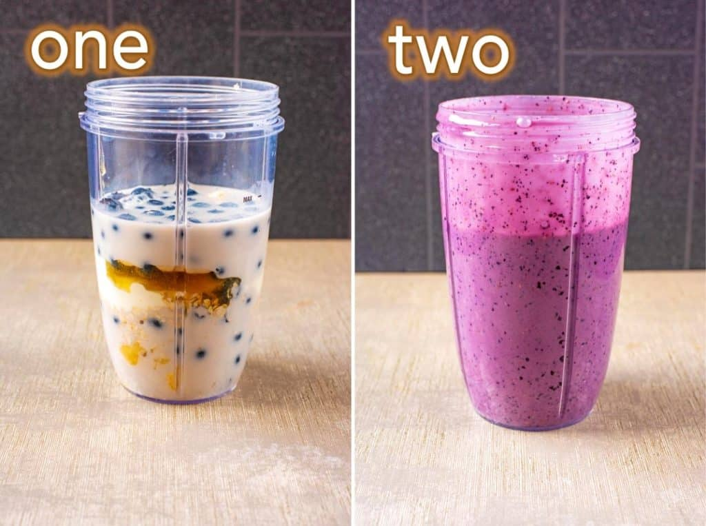 Two step process to making a Blueberry Smoothie