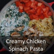 Creamy Chicken Spinach Pasta in a large pot