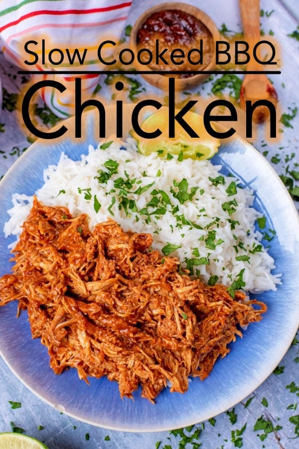 Just 2 ingredients go in to making this Slow Cooked BBQ Chicken. It really is that simple, but it is too good not to share. #bbq #barbecue #chicken #slowcooker