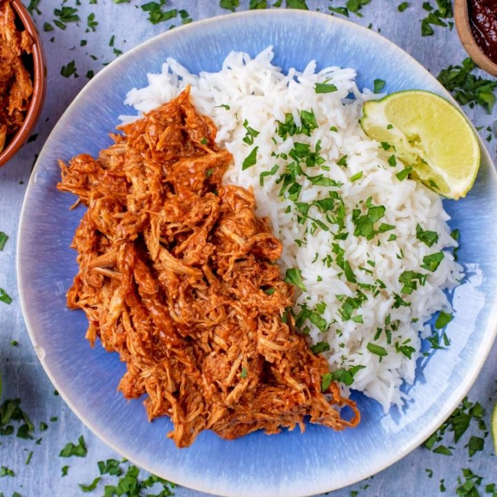 A blue plate with shredded Slow Cooked BBQ Chicken and rice