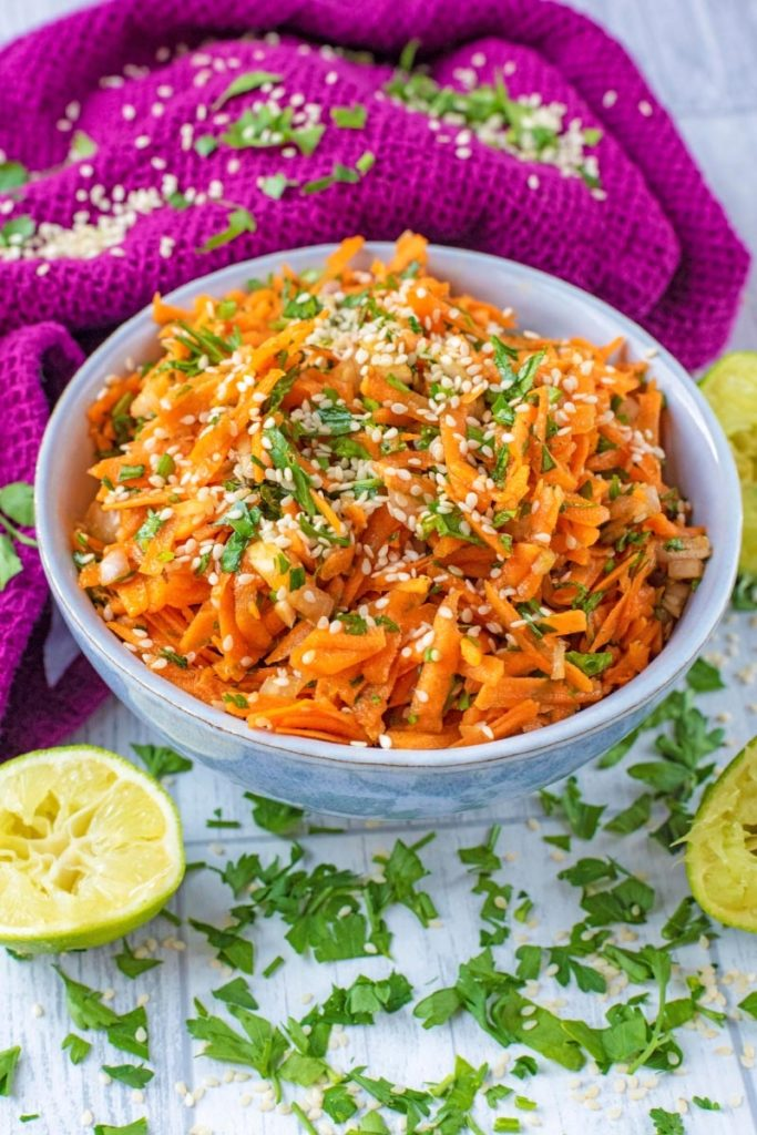 Carrot and coriander salad in a bowl