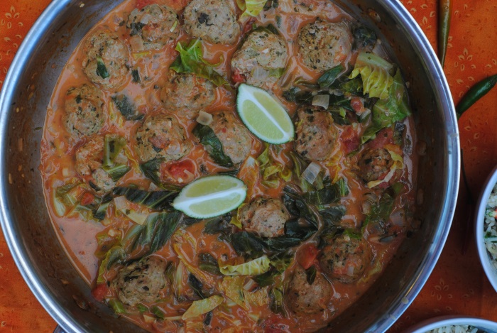 Thai Chicken Meatballs in a curry sauce