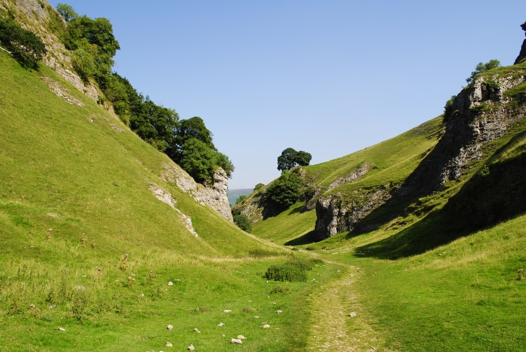 A grassy valley in Hope Valley, Derbyshire
