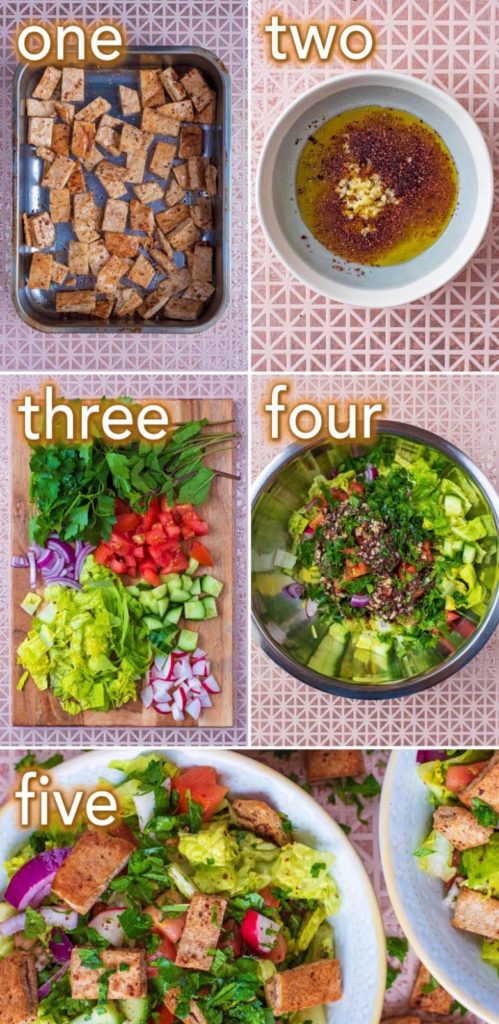 Step by step process showing how to make Fattoush Salad
