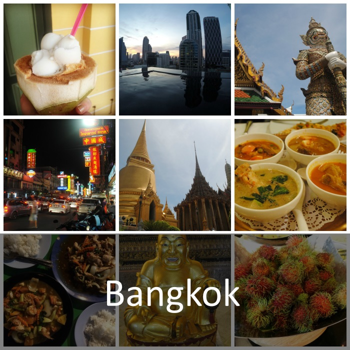 Nine picture collage of various sites of Bangkok