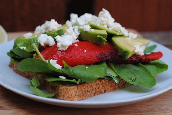 Feta, Avocado and Roasted Red Pepper Sandwich 1