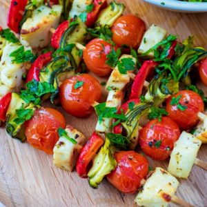 Vegetable and Halloumi Kebabs