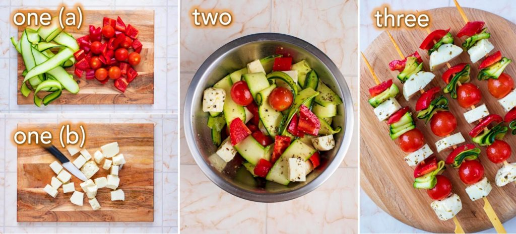 Step by step process of how to make Vegetable and Halloumi Kebabs