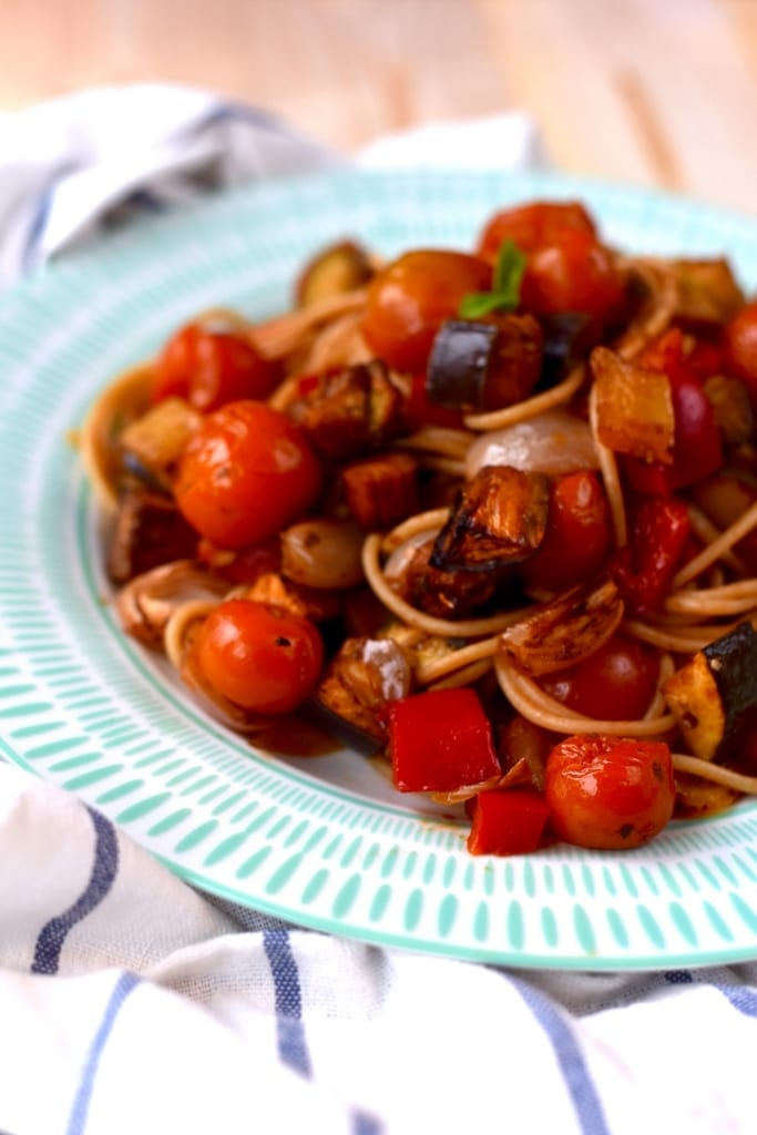 Balsamic Roasted Ratatouille Spaghetti