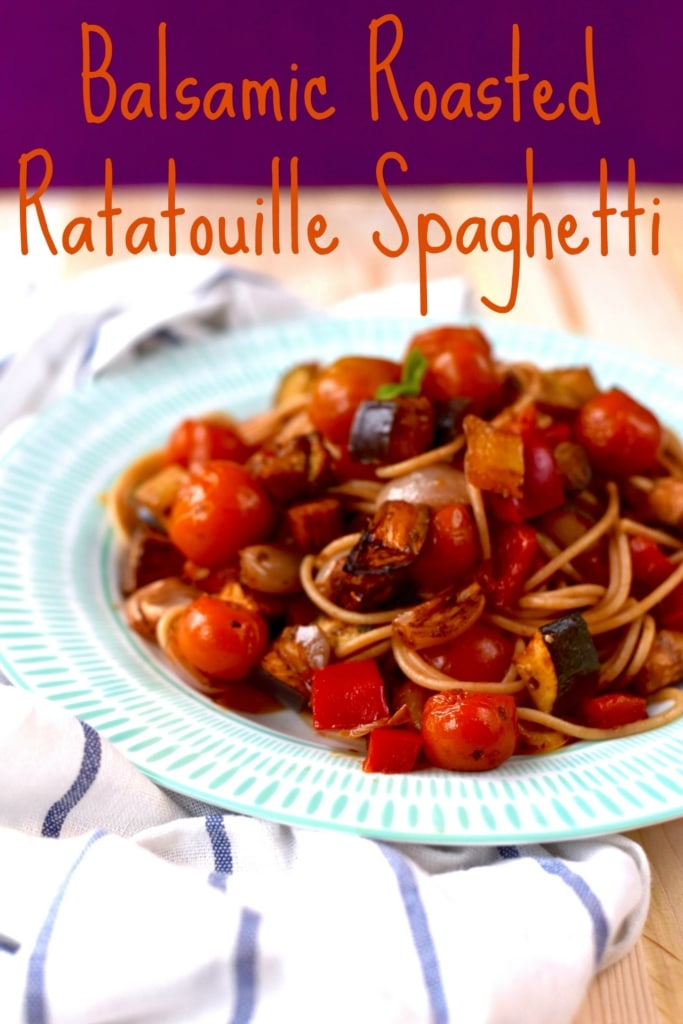 Balsamic Roasted Ratatouille Spaghetti title