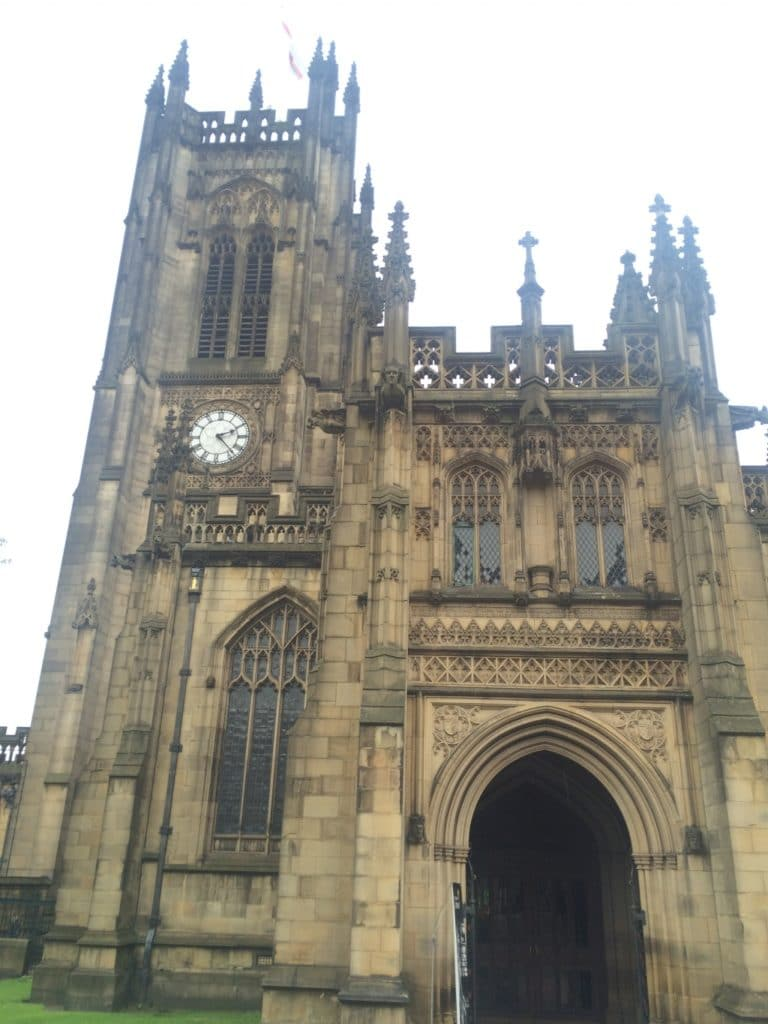 The front entrance to Manchester Cathedral