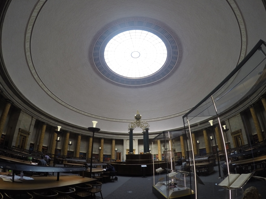 The inside of one of Manchester's Central Library's reading rooms