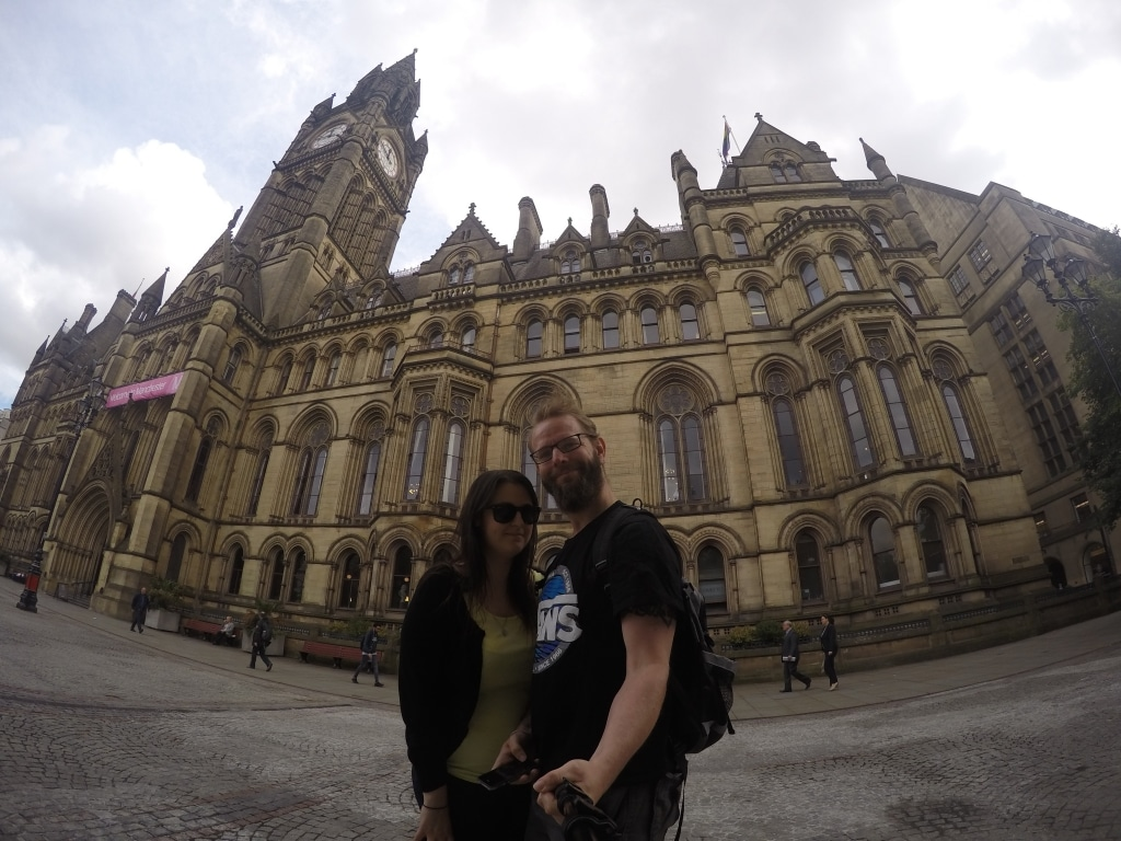 Dave and Dannii taking a selfie in front of Manchester's town hall