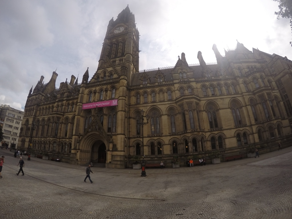 A shot of the front of Manchester's town hall taken from Albert Square
