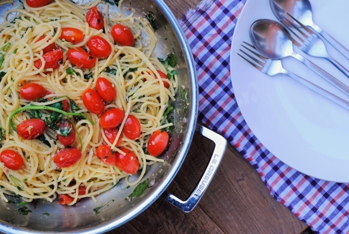 Crab Spaghetti with Watercress and Tomato 2
