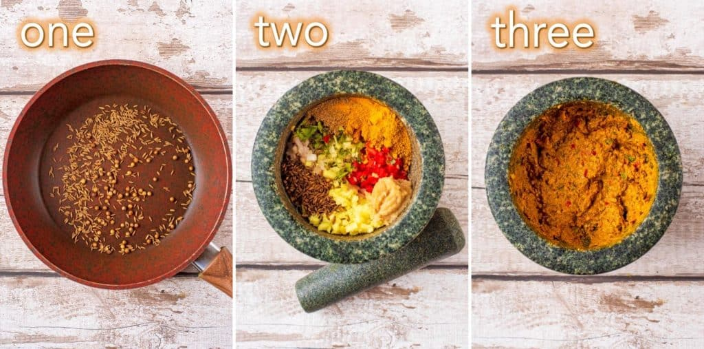 Step by step process to making Thai yellow curry paste