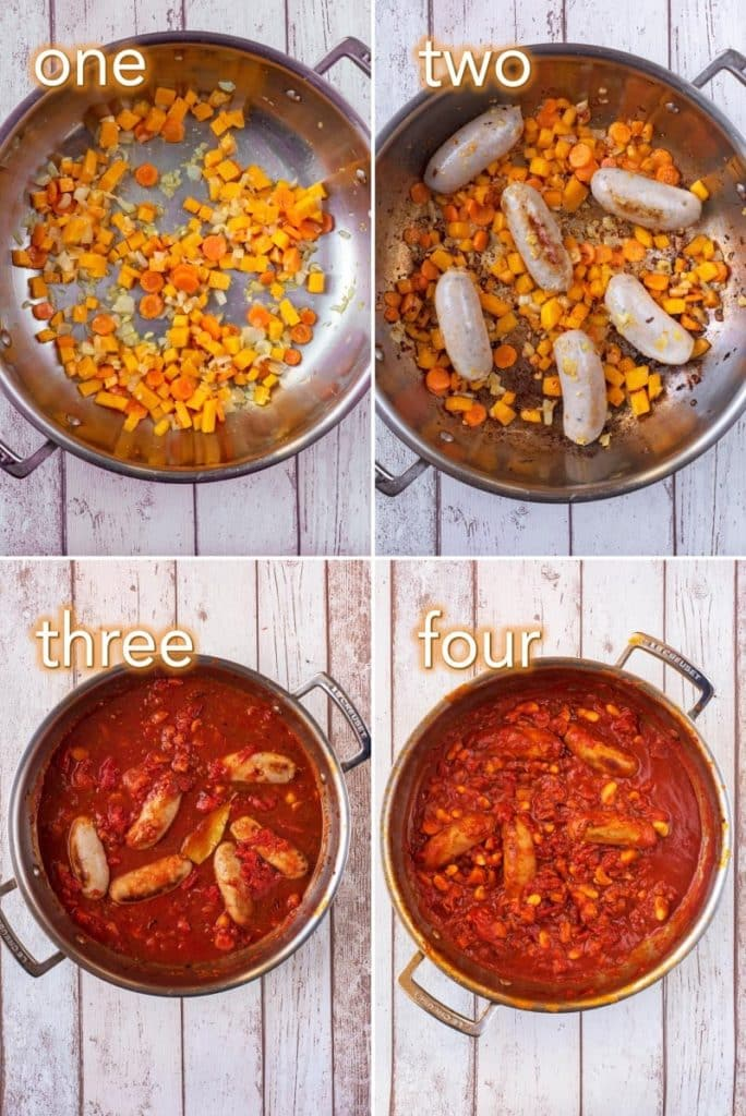 Step by step process of how to make Sausage and Pumpkin Casserole