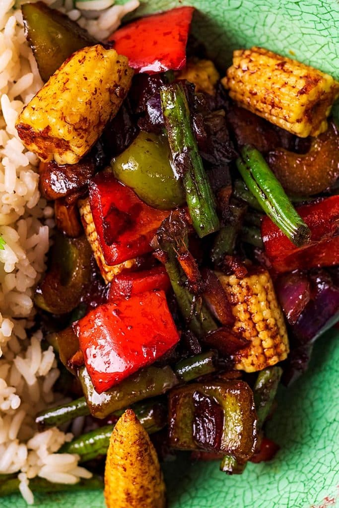 Stir fried vegetables in a teriyaki sauce