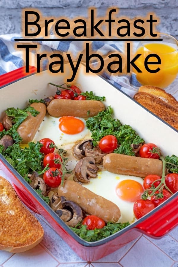 A Breakfast Traybake is a great breakfast to feed a crowd and even better that you can just dump everything in and leave it. Sausages, tomatoes, mushrooms, kale and eggs make up thiseasy breakfast traybake, but it is easy to adapt too. #breakfast #traybake #vegetarian